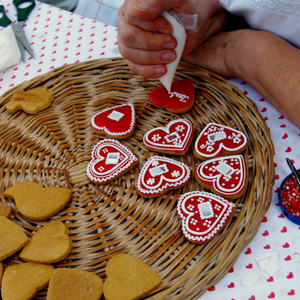 Hand decorated gingerbread cookies at the Christmas Market Stands.