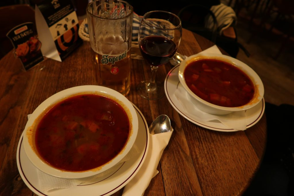 Two very tasty goulash soups on a rainy first evening in Budapest
