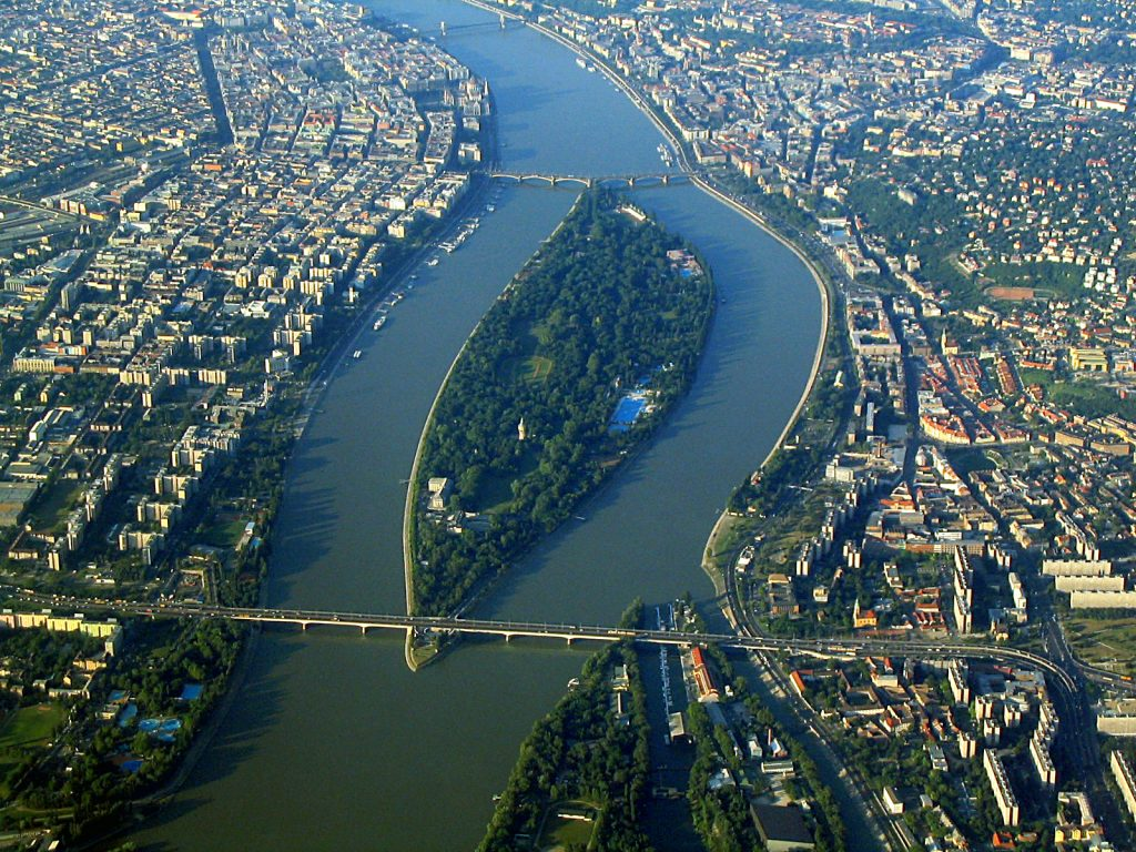 An arial view of Margaret Island